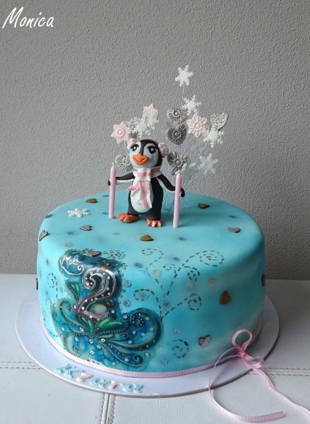 Maľovaná torta s tučniačikom pre Kiaru  1