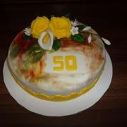 Torta na 50-tu,keď ju domaľovala moja malá :-)