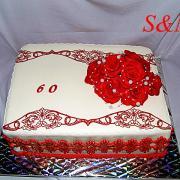 Torta 60 s ružami