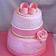 Torta krstinová v ružovom