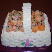 Torta Koš s broskyňami