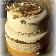 Torta svadobná béžovo zlatá ...
