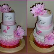 Torta Svadobná bielo-ružová