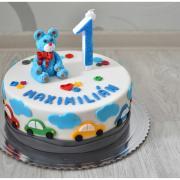 Torta Narodeninová s mackom a autíčkami