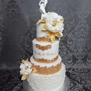 Torta svadobná bielo-zlatá