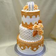 Torta svadobná s krajkou a ružami