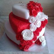 Torta Svadobné srdcia v červenom