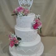 Torta Svadobná v bielo ružovom...