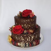 Torta Čokoládová na 40-ku so živými kvetmi a ovocím