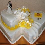 Torta Dvoj srdce bielo-žlté