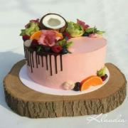 Torta Nahá so živými kvetmi a ovocím