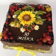 Torta Čokoládová s kvetmi a ovocím