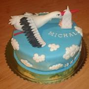 Torta Torta na krstiny s bocianom