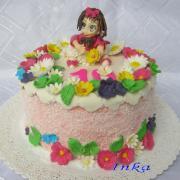 Torta dievčatko  s kvietkami
