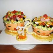 Torta dvojitá oslava pri slaných šálkach