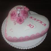 Torta Narodeninové srdce s krajkou