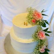 Torta Svadobná krémová s cukrovými kvetmi