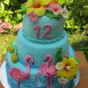 Torta tropicke kvety s plameniakmi