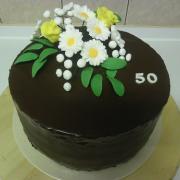Torta čokoládová s kytičkou