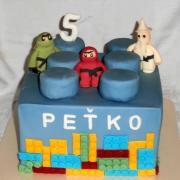 Torta lego kocka s ninja postavičkami