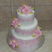 Torta Svadobná do ružova ladená