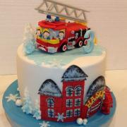 Torta Na želanie s hasičským autom