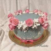 Torta Dezertík s ružičkami a hortenziou...