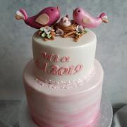 Torta krstinová s vtáčikmi