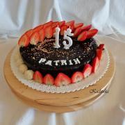 Torta Pre môjho synátora na dnešnú oslavu, čokoládovo orechová , bez múky s višňovým frutafilom...