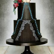 Torta Svadobná gotická čierna s lebkami