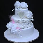 Torta Svadobná s kvetmi z jedlého papiera