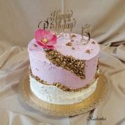 Torta Tortička krémová dvojvrstvová so zlatými kamienkami...