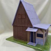 Torta nedokončená chata podľa skutočnej na želanie majiteľa