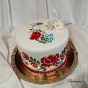 Torta Ľudový motív, folklórna - ručne vyšívaná