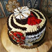 Torta Snehová netradične - Dáma s dáždnikom