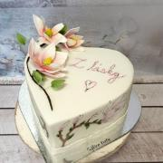 Torta Magnólie ručne maľované aj modelované:)