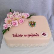 Torta Narodeninová s kvietkami a logom colnej správy