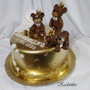 Torta Na krstiny zlatá s čokoládovými medvedíkmi a zlatými korunkami...