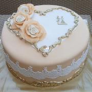 Torta svadobná v béžovo zlatom