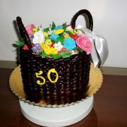 Torta košík kvetov