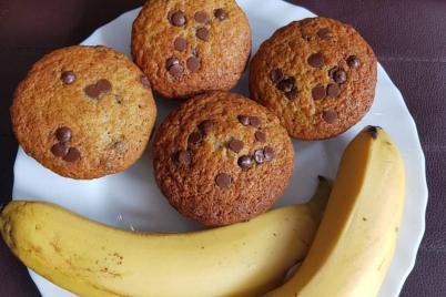 Banánové muffiny s čokoládou - recept