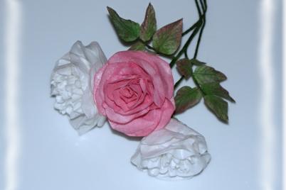 Ruža a pivonka z jedlého papiera - foto postup