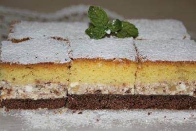 Tvarohové rezy s čokoládou a orechami - recept