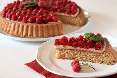 Malinový koláč s pudingom - recept