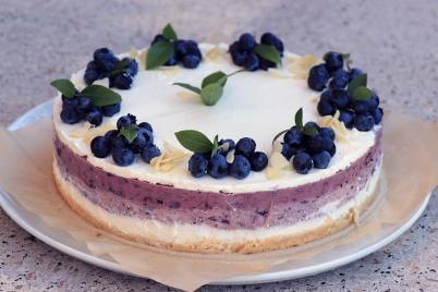 Nepečená čučoriedková tortička s mascarpone - recept