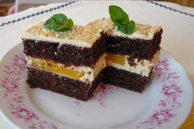 Čokoládovo-broskyňové rezy - recept