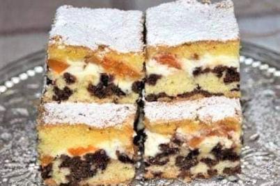 Strakatý koláč s tvarohom a marhuľami - recept