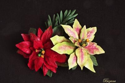 Vianočná ruža z jedlého papiera - foto postup