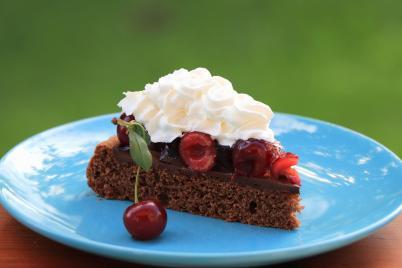 Čokoládová tortička s višňami - recept