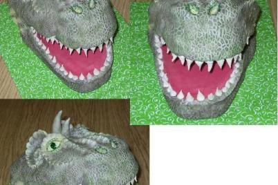 Hlava tyranosaura Rexíka - postup - foto postup